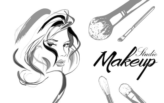 Wizytówka artysty makijażu Premium Wektorów
