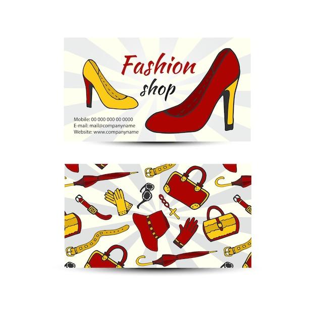 Wizytówka Dla Sklepu Mody. Kobiety Buty I Ubrania Wektor Wizytówki Premium Wektorów