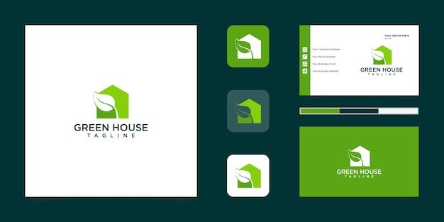 Wizytówka Inspiracji Zielonym Domem I Negatywną Przestrzenią Liściastą Premium Wektorów