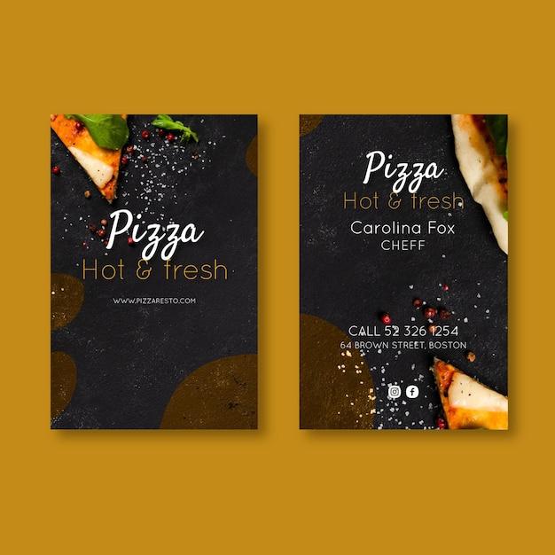 Wizytówka Pizzerii Dwustronna Premium Wektorów