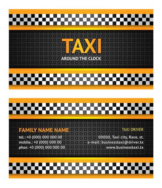 Wizytówka Taksówki Premium Wektorów