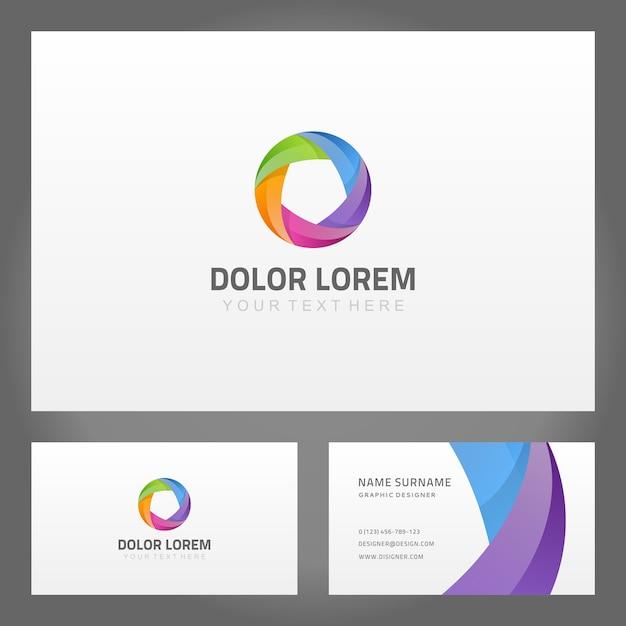 Wizytówka Z Abstrakcyjnym Logo Baner Skręcony Pierścień Premium Wektorów