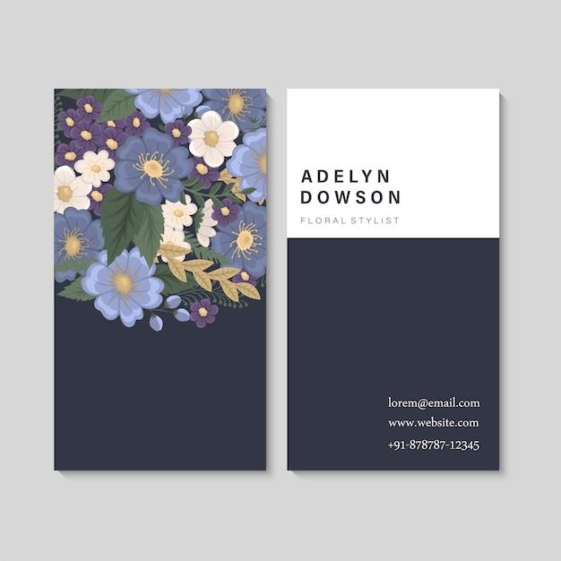 Wizytówki Kwiatowe Niebieskie Darmowych Wektorów