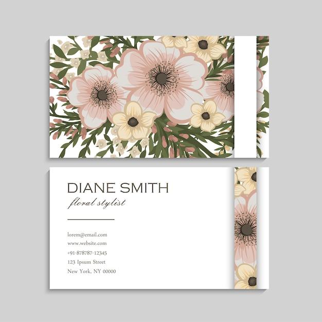 Wizytówki kwiatowe pastelowe kwiaty Darmowych Wektorów