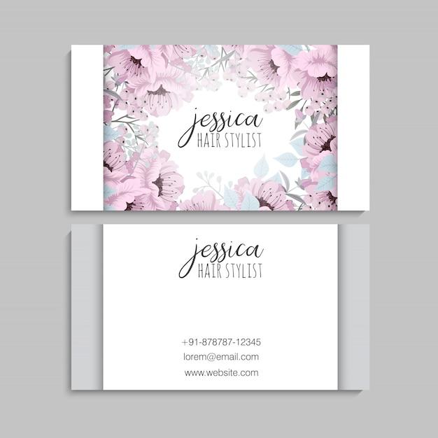 Wizytówki Szablon Różowe Kwiaty Premium Wektorów