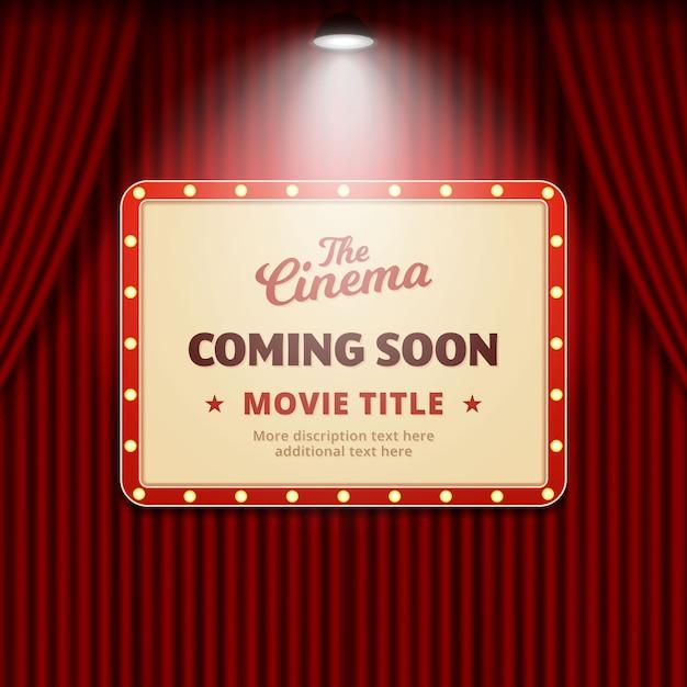 Wkrótce film kinowy. projekt promocji bannerów Premium Wektorów