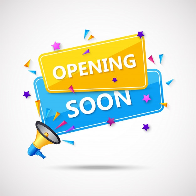 Wkrótce otwarcie kompozycji tła z płaską konstrukcją Premium Wektorów