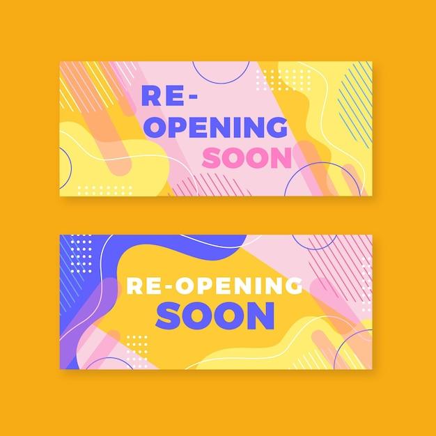 Wkrótce Ponowne Otwarcie Kolekcji Bannerów Memphis Premium Wektorów