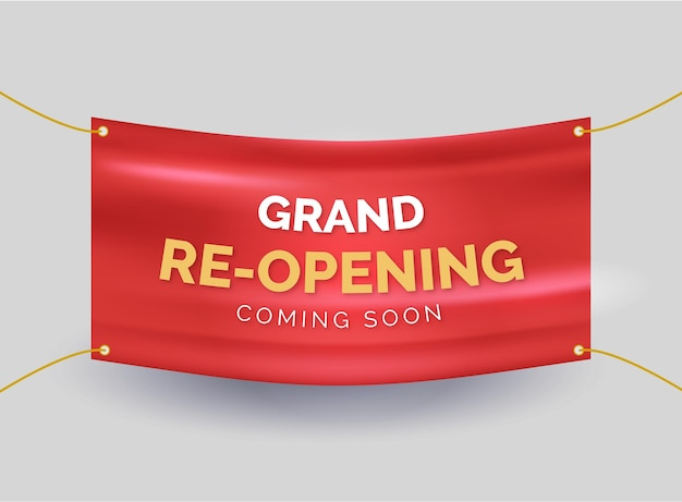 Wkrótce Ponownie Otworzy Banner Premium Wektorów