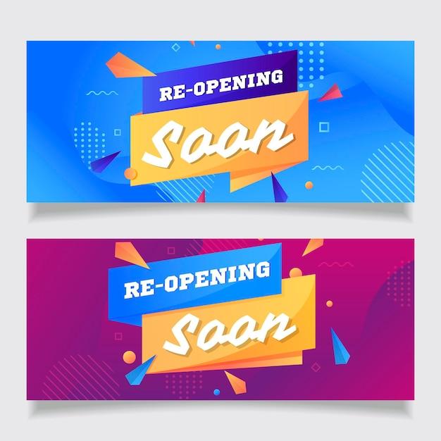 Wkrótce Ponownie Otworzy Szablon Transparentu Z Efektem Memphis Premium Wektorów