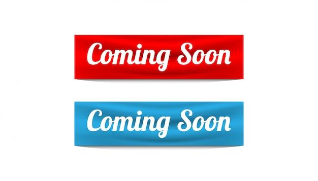 Wkrótce Szablon Wektor Banner Projekt Naklejki. Premium Wektorów