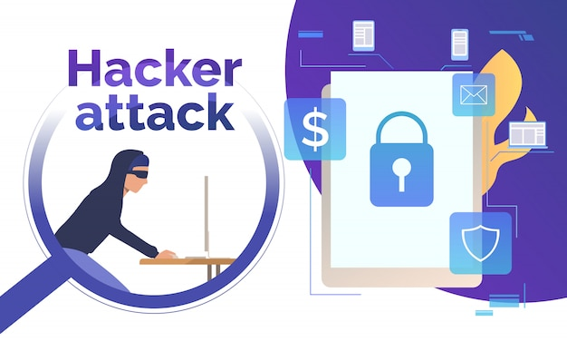 Włamywanie się cyberprzestępcy do urządzenia Darmowych Wektorów