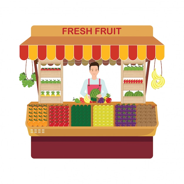 Właściciel sklepu detalicznego owoców i warzyw we własnym sklepie. Premium Wektorów