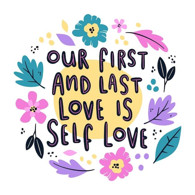 Własna Miłość Kwiatowy Napis Darmowych Wektorów