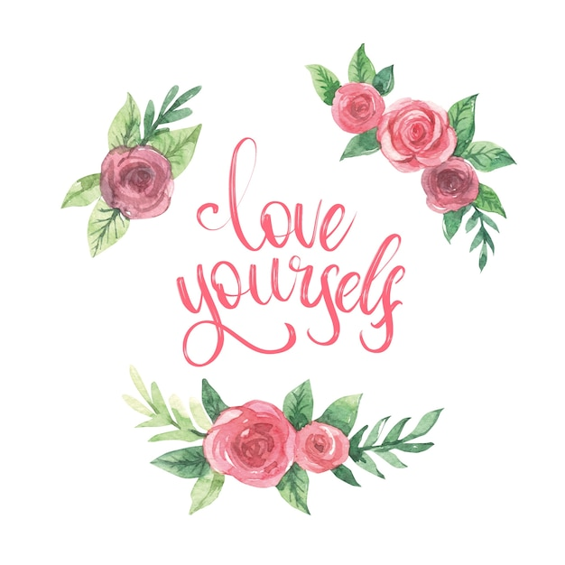 Własna Miłość Napis Z Kwiatami Darmowych Wektorów