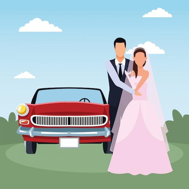 Właśnie Małżeństwem Stoi I Czerwony Klasyczny Samochód Nad Krajobrazem Premium Wektorów