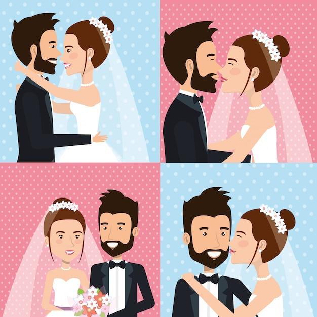 Właśnie Małżeństwo Ustawiło Zdjęcia Darmowych Wektorów