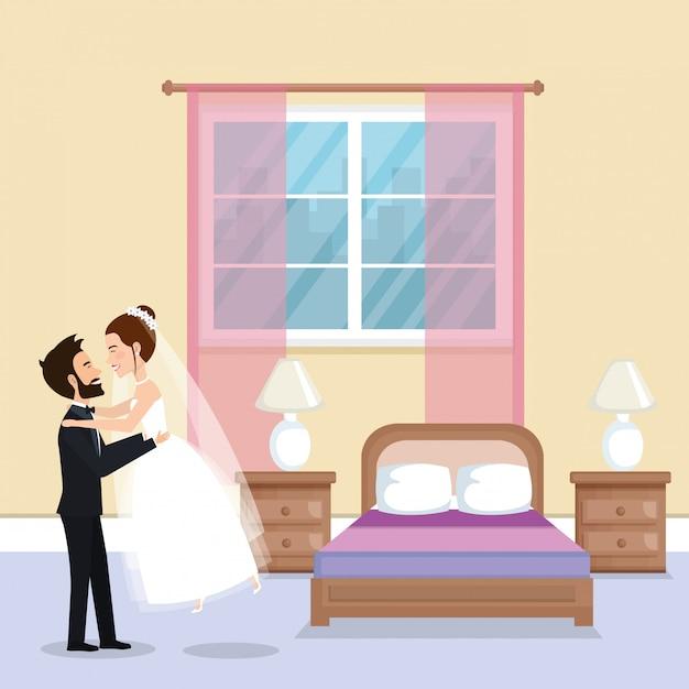Właśnie Małżeństwo W Sypialni Darmowych Wektorów