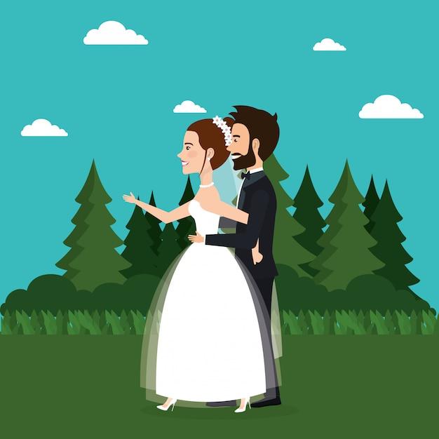 Właśnie Małżeństwo W Terenie Darmowych Wektorów