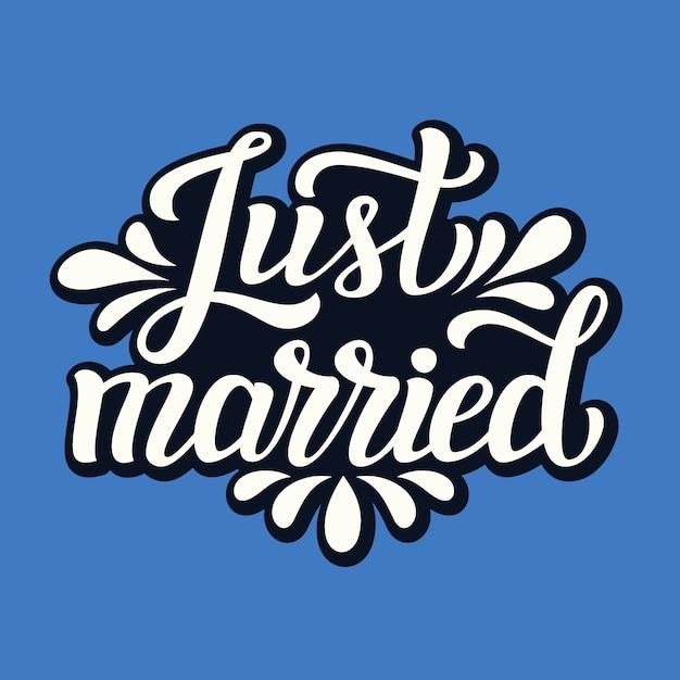 Właśnie Się Ożeniłem. ślubna Karta Typografii Premium Wektorów