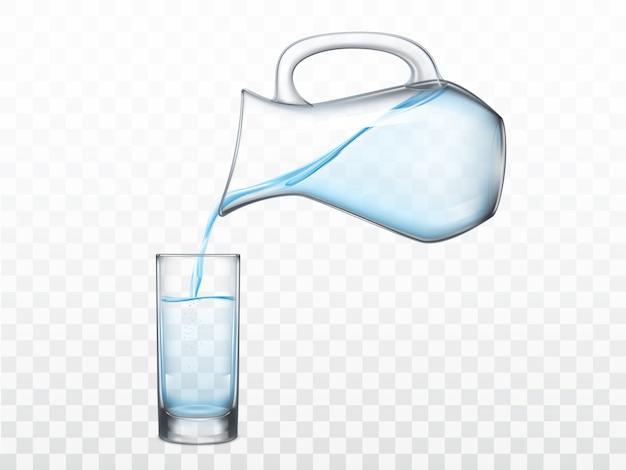 Wlewając Słodką Wodę Z Dzbanka W Szklanym Wektorze Darmowych Wektorów