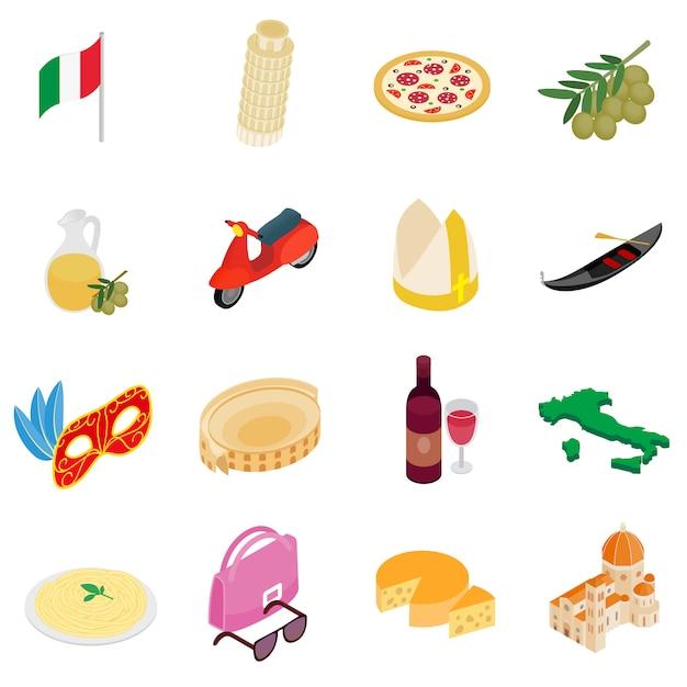 Włochy isometric 3d ikony ustawiać odizolowywać na białym tle Premium Wektorów