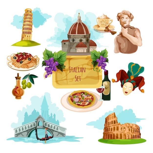 Włochy Zestaw Turystyczny Darmowych Wektorów