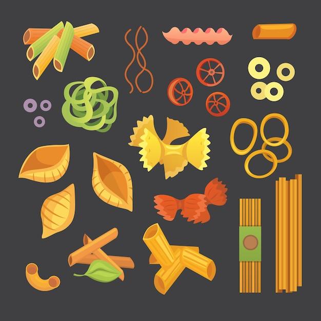 Włoski Makaron W Kreskówce. Różne Rodzaje I Kształty Makaronu Z. Ravioli, Spaghetti, Ilustracja Tortiglioni Na Białym Tle Premium Wektorów