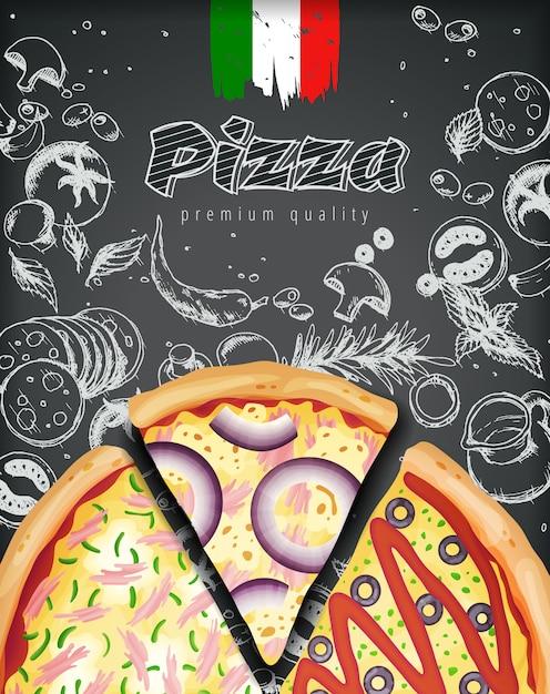 Włoskie reklamy pizzy lub menu z bogatą ilustracją ciasta na grawerowanym kredowym stylu doodle. Premium Wektorów