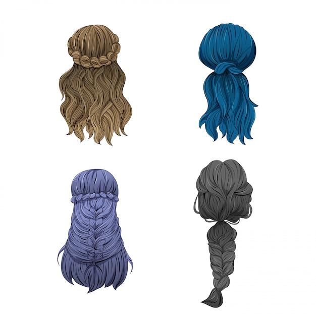 Włosy dziewczyny w różnych stylach. Premium Wektorów