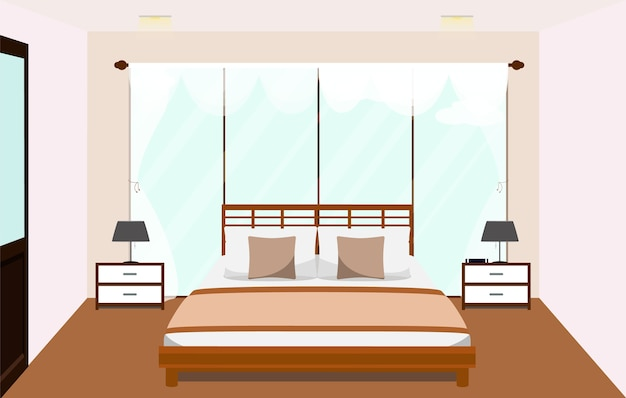 Wnętrze Sypialni Z Meblami Szklane Okno Wektor Premium