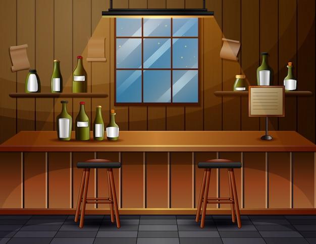 Wnętrze Baru Kawiarni Ilustracji Premium Wektorów