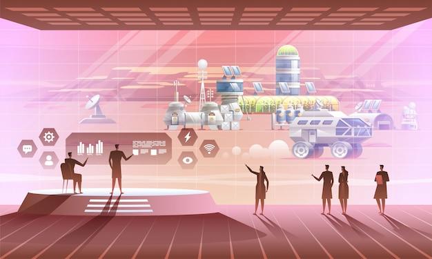 Wnętrze Bazy Kosmicznej Z Widokiem Na Osadę Pozaziemską. Premium Wektorów