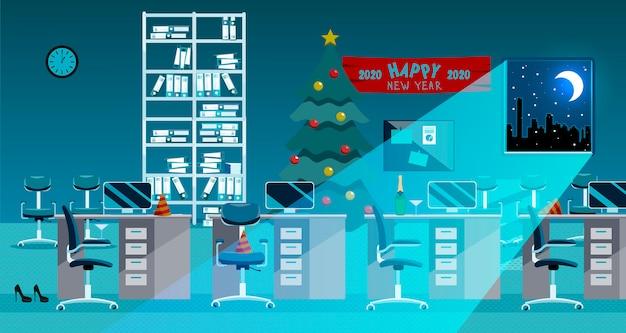 Wnętrze Biura Po Obchodach Nowego Roku. Nieład Po Imprezie Firmowej W Biurze. Premium Wektorów