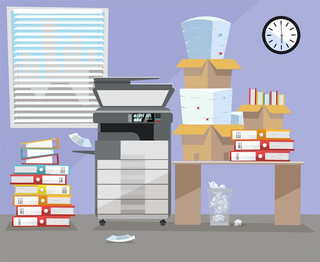 Wnętrze biura ze wielofunkcyjnym skanerem kopiarki w pobliżu biurka. Premium Wektorów
