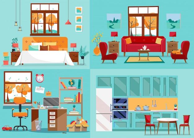 Wnętrze Domu 4 Pokoje. Widok Z Przodu Kuchni, Salonu, Sypialni, Pokoju Dziecinnego. Wyposażenie Wnętrz Domowych Pokoi. Widok Wnętrza Na Wyposażenie. Ilustracja Stylu Płaski Kreskówka Premium Wektorów