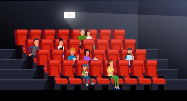 Wnętrze Kina Z Ludźmi Jedzenie Popcornu I Ciesząc Się Filmem W Pałacu Obrazu Premium Wektorów