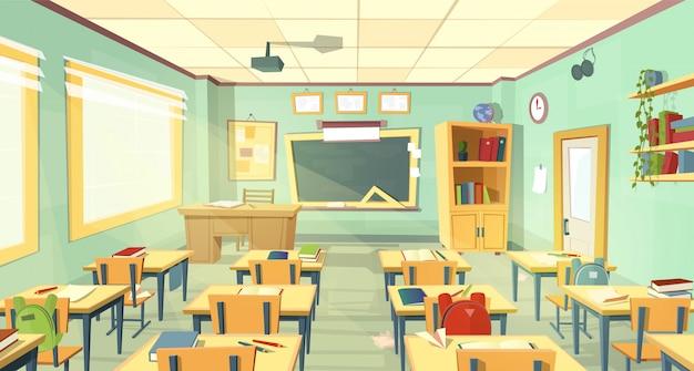 Wnętrze klasie szkoły. uniwersytet, koncepcja edukacyjna, tablica, tabela Darmowych Wektorów