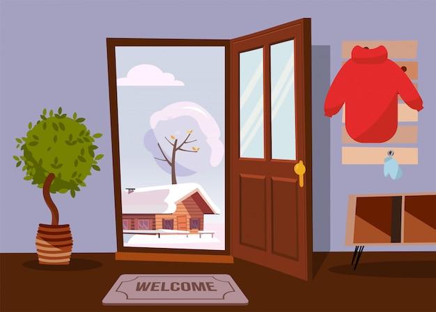 Wnętrze Korytarza Z Otwartymi Drzwiami Z Widokiem Na Zimowy Krajobraz Ze Starym Domem Premium Wektorów
