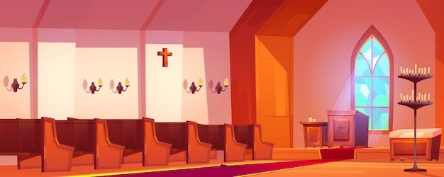 Wnętrze Kościoła Katolickiego Z Ołtarzem I ławkami Darmowych Wektorów