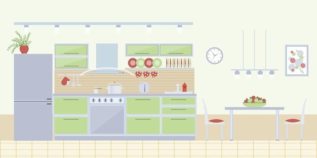 Wnętrze Kuchni W Stylu Płaski. Projekt Domu I Meble, Nowoczesny Dom. Darmowych Wektorów