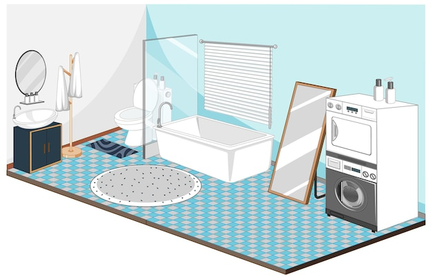 Wnętrze łazienki I Pralni Z Meblami W Kolorze Niebieskim Darmowych Wektorów