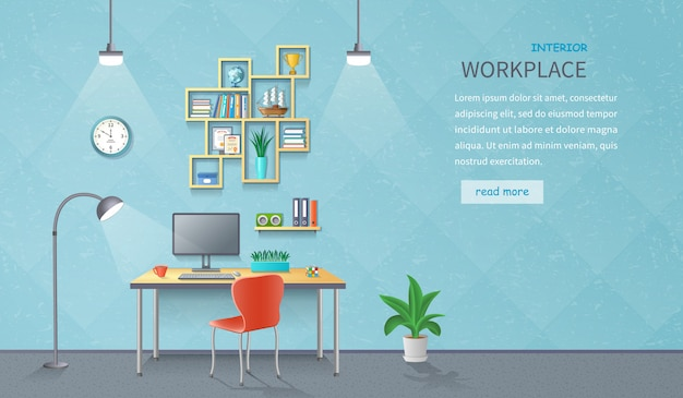 Wnętrze Pokoju Z Biurkiem, Lampą, Krzesłem, Monitorem, Półkami, Artykułami Biurowymi, Doniczką Premium Wektorów