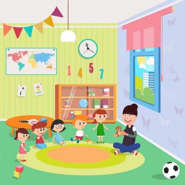 Wnętrze przedszkola. dziewczęta i chłopcy siedzą wokół nauczyciela. Premium Wektorów