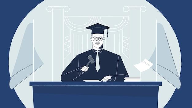 Wnętrze Sali Sądowej Z Prawem Sędziego I Przestępczością Karną I Sprawiedliwością W Koncepcji Sądu Premium Wektorów