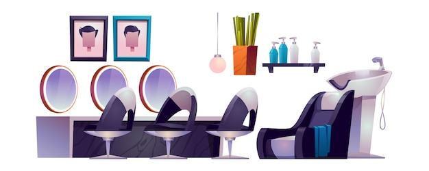 Wnętrze Salonu Fryzjerskiego Z Fotelami Fryzjerskimi, Lustrami, Umywalką I Kosmetykami Darmowych Wektorów