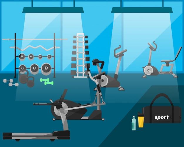 Wnętrze siłowni ze sprzętem Premium Wektorów