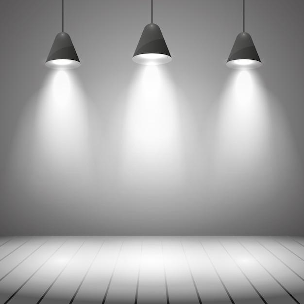 Wnętrze Studia Z Białą ścianą I Oświetleniem Punktowym. Projektor, Realistyczne Jasne, Podświetlanie I Podłoga, Ilustracja Wektorowa Darmowych Wektorów