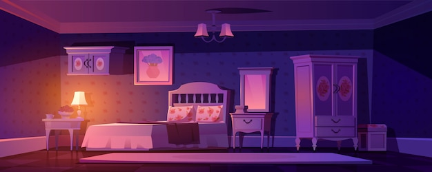 Wnętrze Sypialni Shabby Chic, Pusty Pokój Vintage Darmowych Wektorów