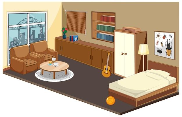 Wnętrze Sypialni Z Elementami Mebli I Dekoracji W Tematyce Drewnianej Darmowych Wektorów